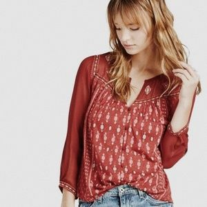 • LUCKY BRAND • boho embroidered button down top